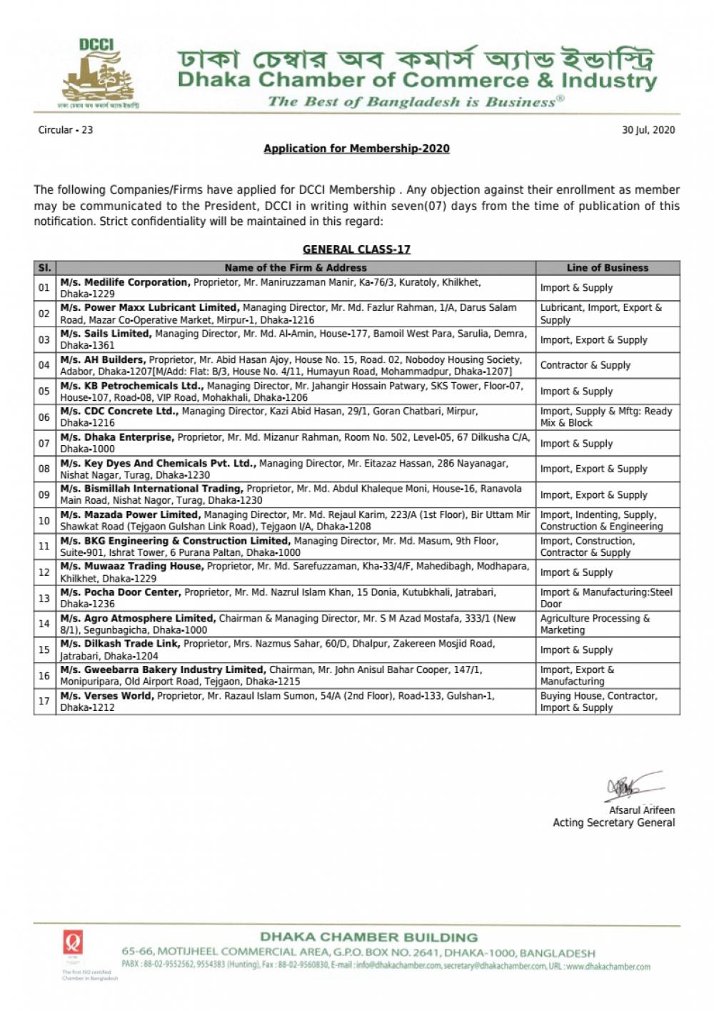 Application for Membership-2020 (Circular-23)