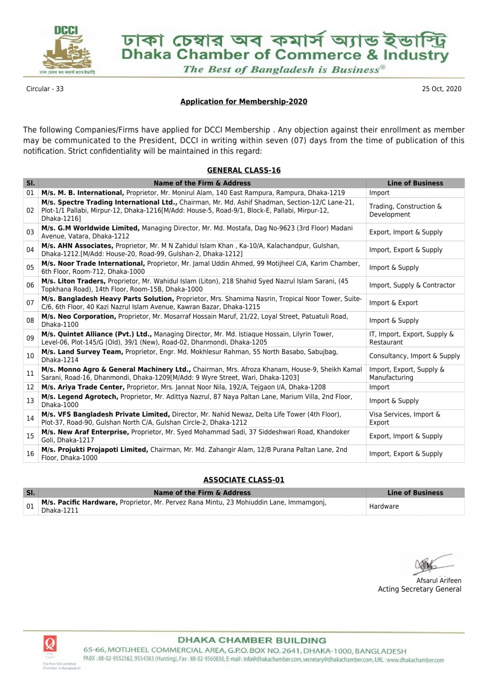 Application for Membership-2020 (Circular-33)