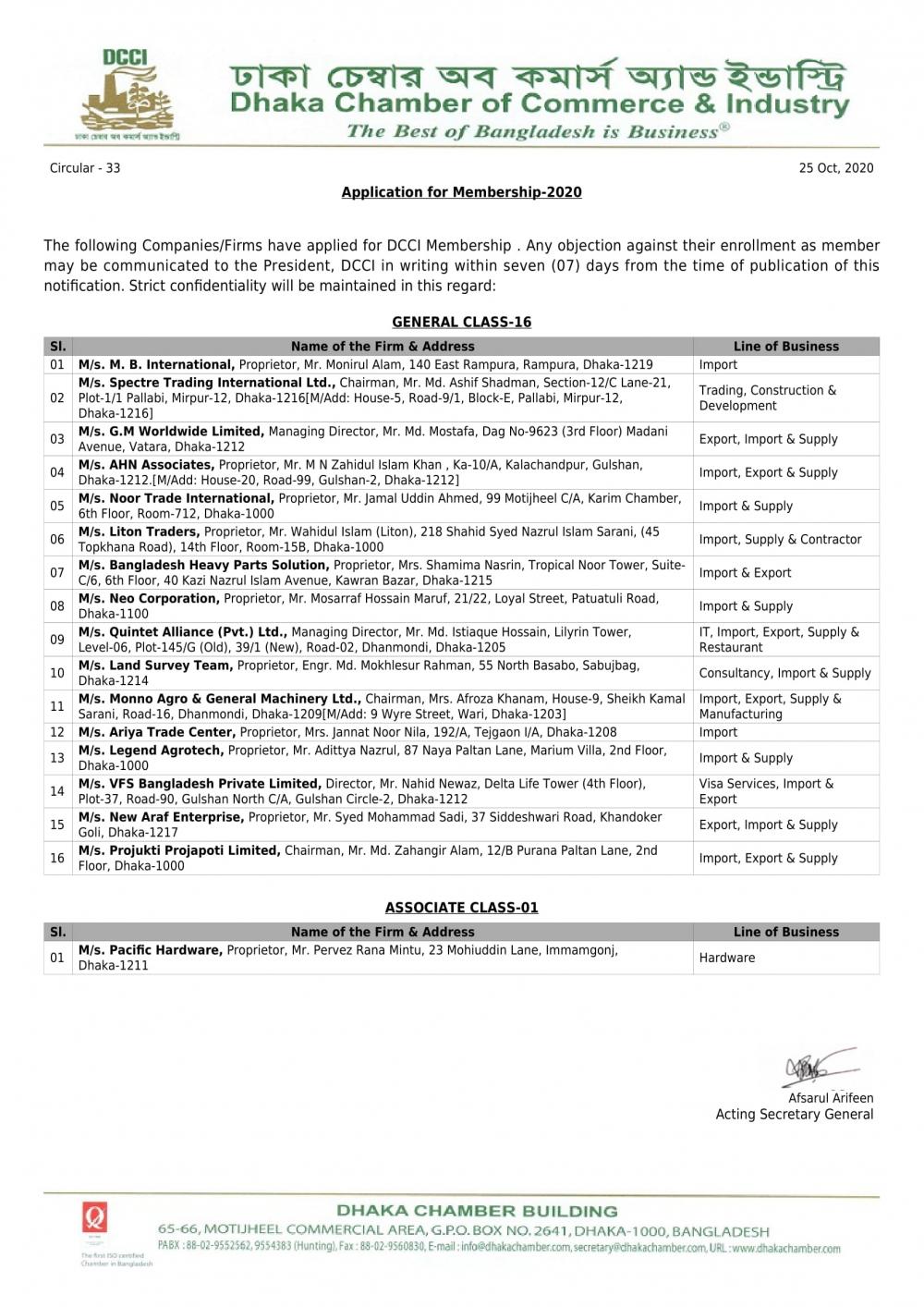 Application for Membership-2020 (Circular-33)
